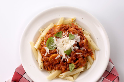 Penne pasta with mushroom and bolognese 